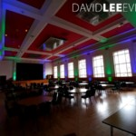 Blue & Green uplighting at Dukinfield Town Hall
